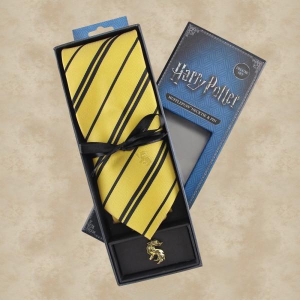 Hufflepuff Krawatte mit Pin (Deluxe Box) - Harry Potter